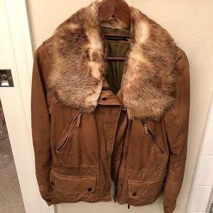 Zara camel leather fur collar aviator jacket coat